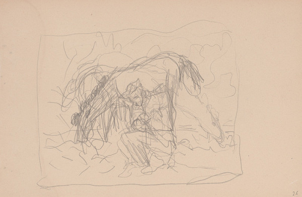 Arnold Peter Weisz-Kubínčan – Skicár 15 Kone a sediaci muž