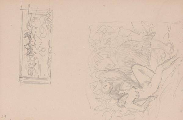 Arnold Peter Weisz-Kubínčan – Skicár 15 Muž a žena v tráve
