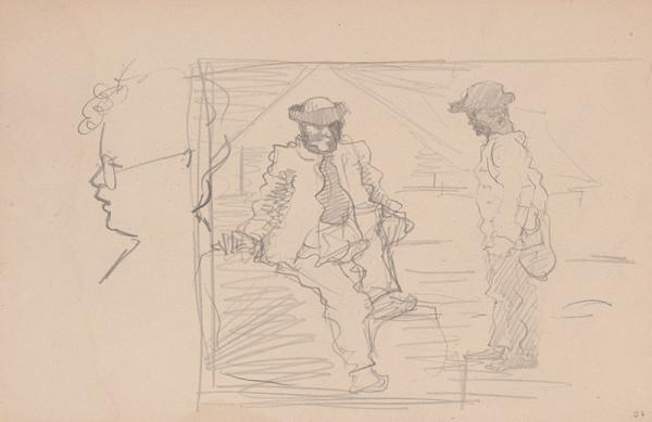 Arnold Peter Weisz-Kubínčan – Skicár 15 Dve postavy a profil tváre