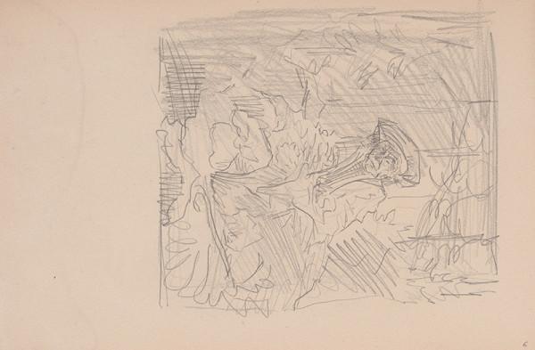 Arnold Peter Weisz-Kubínčan – Skicár 15 Muž sediaci v lese