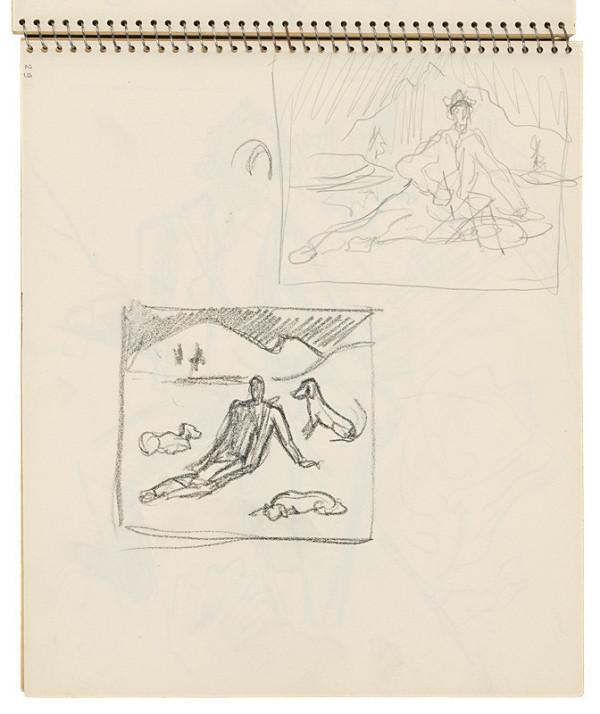 Arnold Peter Weisz-Kubínčan - Skicár 16 Skice sediacich postáv v krajine