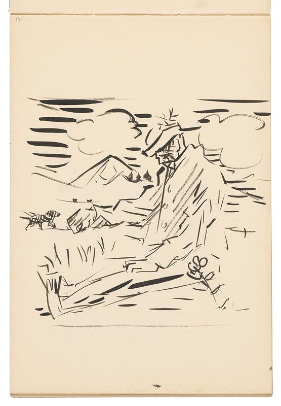 Arnold Peter Weisz-Kubínčan – Skicár 19 Sediaci muž v krajine