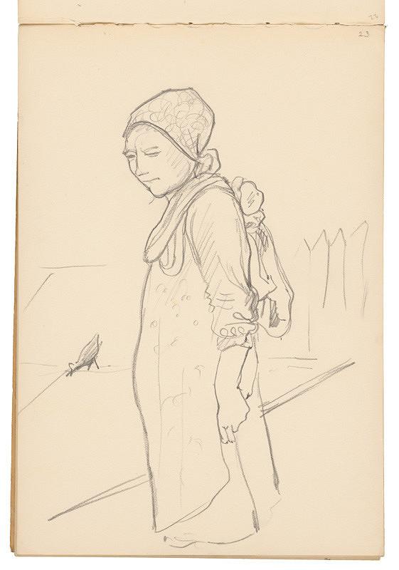 Arnold Peter Weisz-Kubínčan - Skicár 19 Žena s batohom