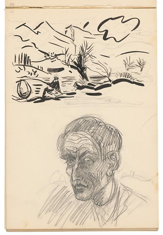 Arnold Peter Weisz-Kubínčan – Skicár 19 Autoportrét a krajina s rybárom