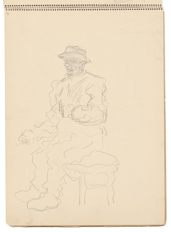 Arnold Peter Weisz-Kubínčan - Skicár 21 Sediaci muž