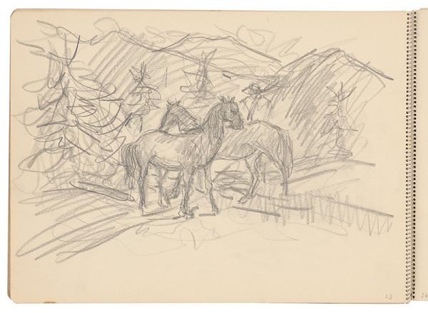 Arnold Peter Weisz-Kubínčan - Skicár 21 Dva kone pri lese