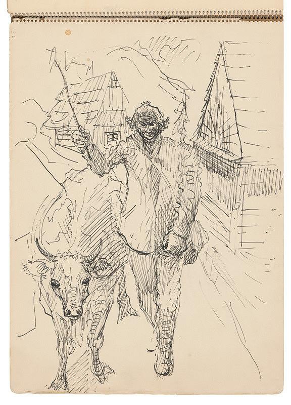 Arnold Peter Weisz-Kubínčan – Skicár 21 Pastier s kravou (vložený list)
