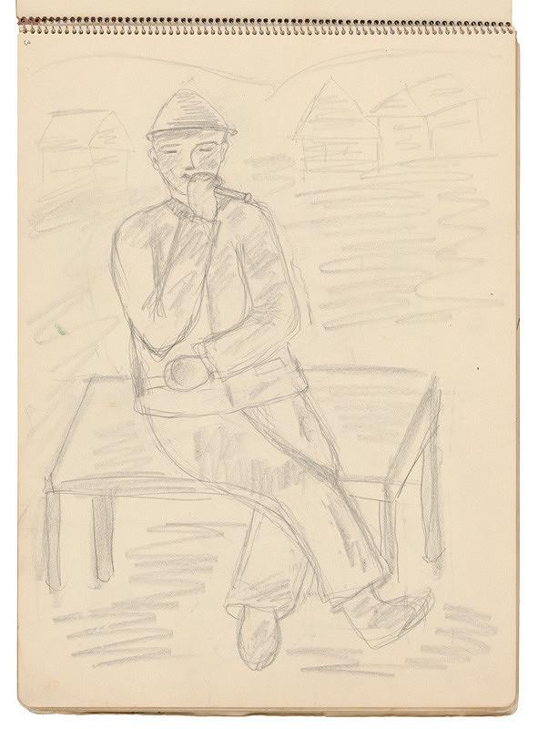Arnold Peter Weisz-Kubínčan - Skicár 21 Muž s píšťalou