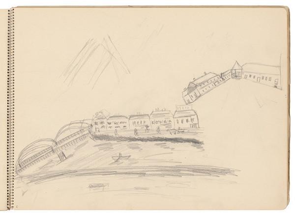 Arnold Peter Weisz-Kubínčan - Skicár 21 Náčrt mesta