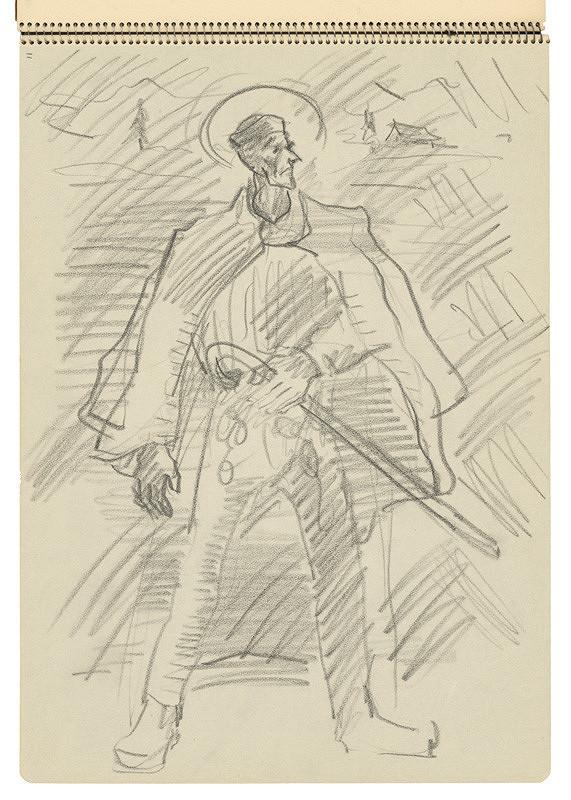 Arnold Peter Weisz-Kubínčan – Skicár 22 Muž s palicou
