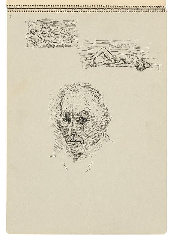 Arnold Peter Weisz-Kubínčan – Skicár 22 Skice postáv a hlava muža