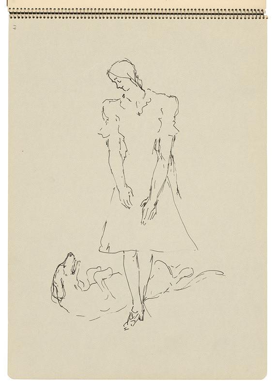 Arnold Peter Weisz-Kubínčan – Skicár 22 Žena a pes