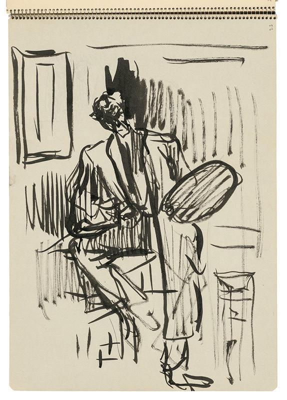 Arnold Peter Weisz-Kubínčan – Skicár 22 Sediaci autoportrét s paletou
