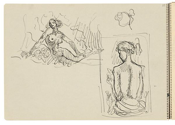 Arnold Peter Weisz-Kubínčan – Skicár 22 Dve skice sediacej ženy
