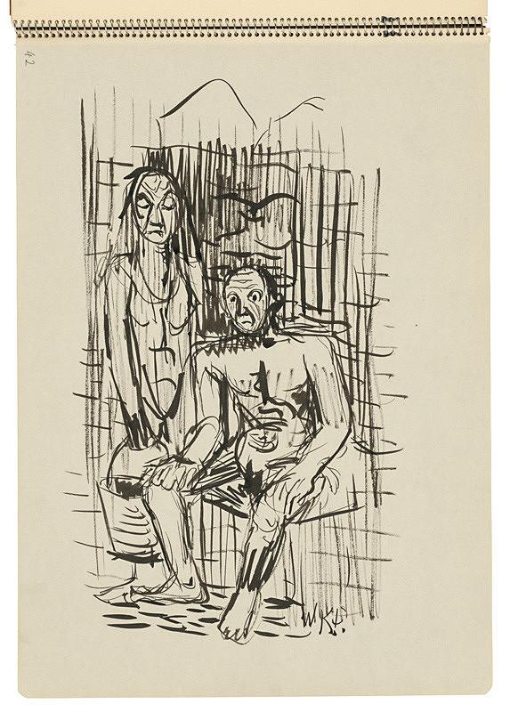 Arnold Peter Weisz-Kubínčan - Skicár 22 Muž a žena s vedrom