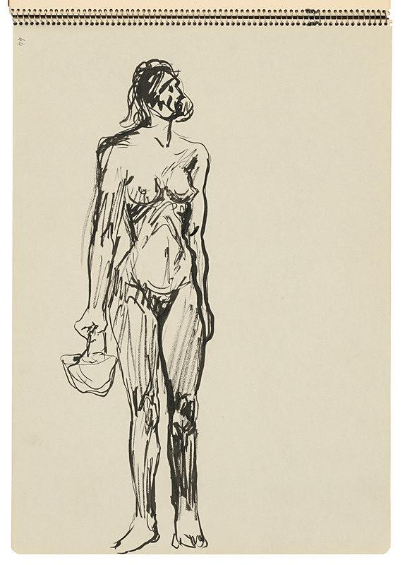 Arnold Peter Weisz-Kubínčan – Skicár 22 Stojaca žena s košíkom