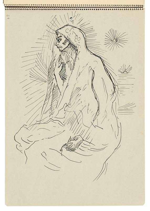 Arnold Peter Weisz-Kubínčan – Skicár 22 Žena v plášti