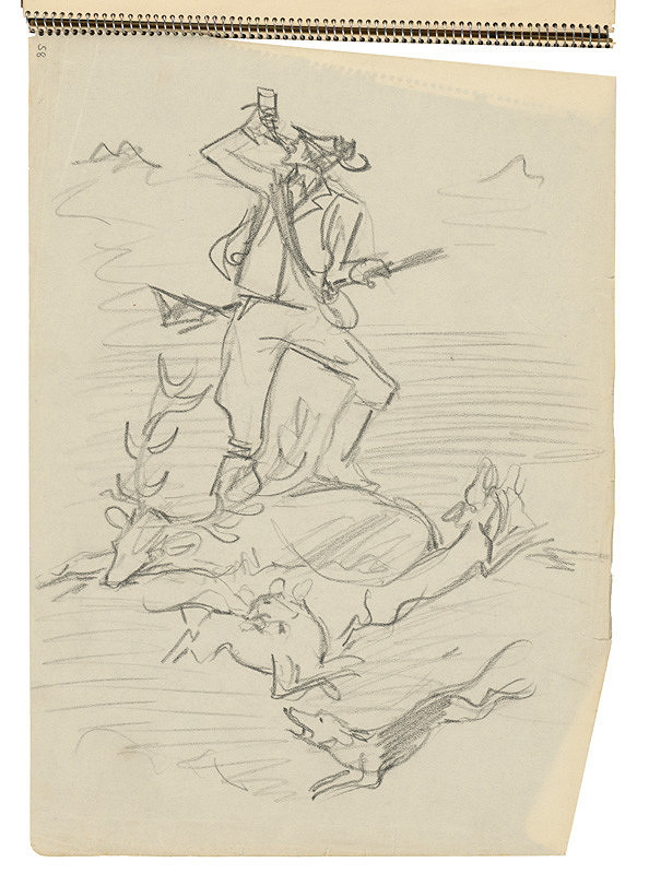 Arnold Peter Weisz-Kubínčan - Skicár 22 Lovec s ulovkom a psami (vložený list)