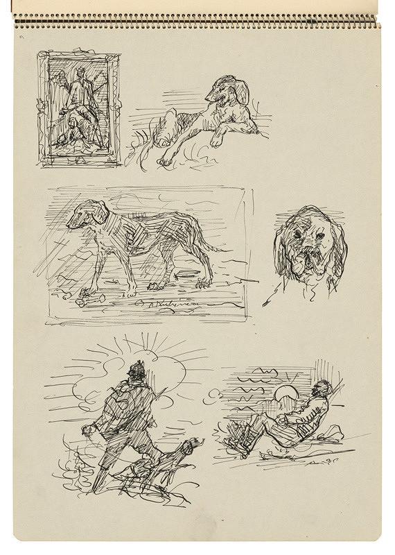 Arnold Peter Weisz-Kubínčan – Skicár 22 Skice psov a lovcov