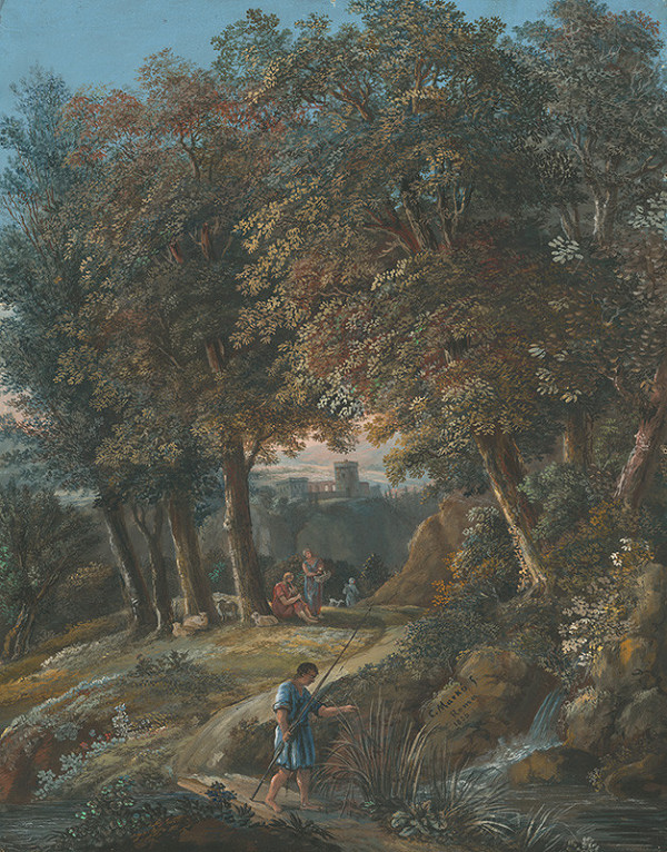 Karol Marko st. - Južná krajina s pastiermi a rybárom