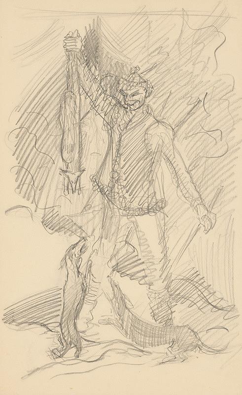 Arnold Peter Weisz-Kubínčan – Lovec s líškou a dvoma psami