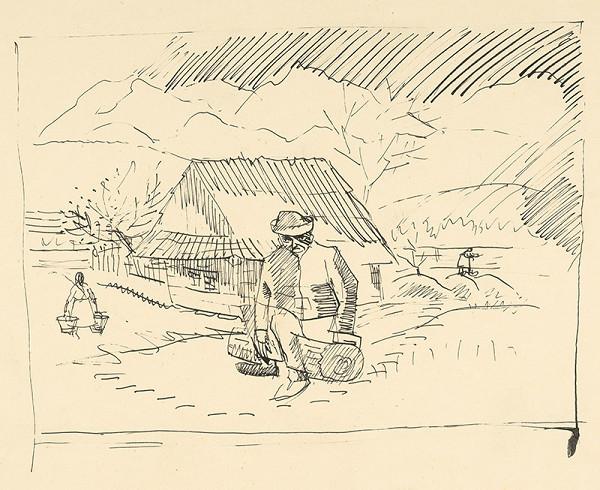 Arnold Peter Weisz-Kubínčan – Muž sediaci pred chalupou