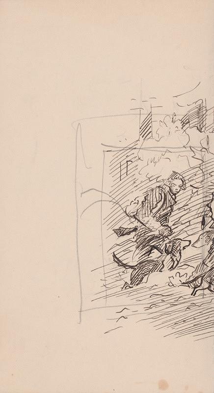 Arnold Peter Weisz-Kubínčan – Fragment skice Lovca so psom
