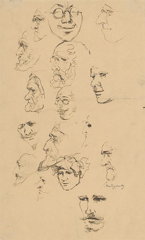 Ladislav Mednyánszky – Štúdia mužských a ženských tvárí