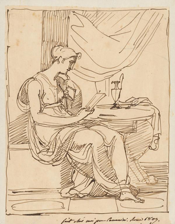 Vincenzo Camuccini – Sediaca žena pri čítaní v empírovom kostýme