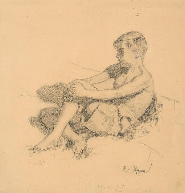 Bohumil Hanák - Štúdia sediaceho chlapca