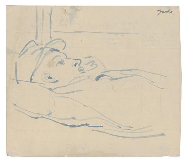 Jozef Fedora - Premýšľajúci ležiaci muži v koncentračnom tábore
