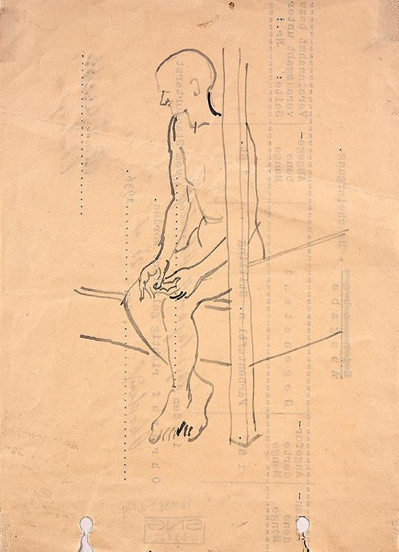 Jozef Fedora - Vychudnutý nahý muž, sediaci na drevenej posteli v cele koncentračného tábora