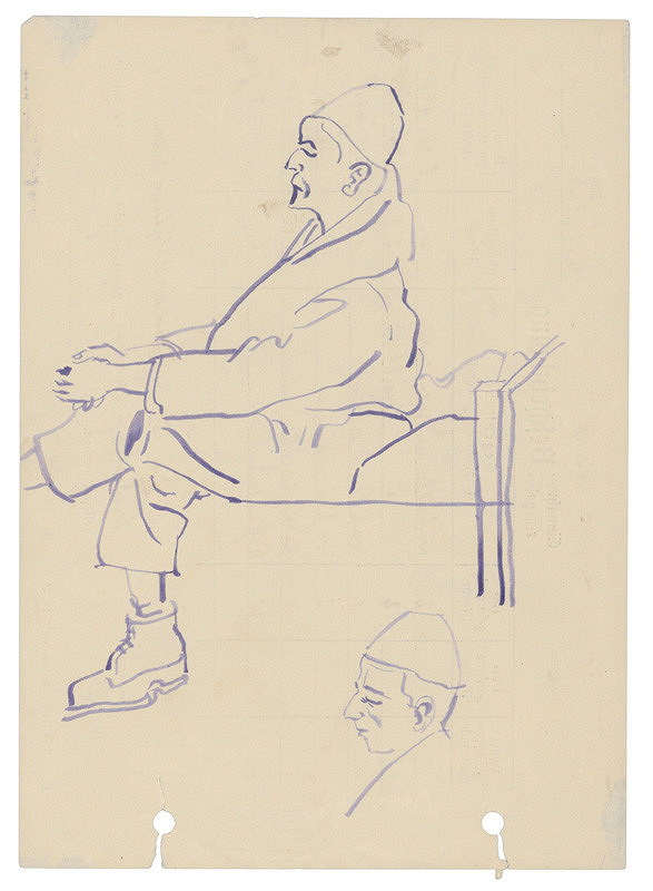 Jozef Fedora – Muž s preloženými nohami sediaci na drevenej posteli v koncentračnom tábore