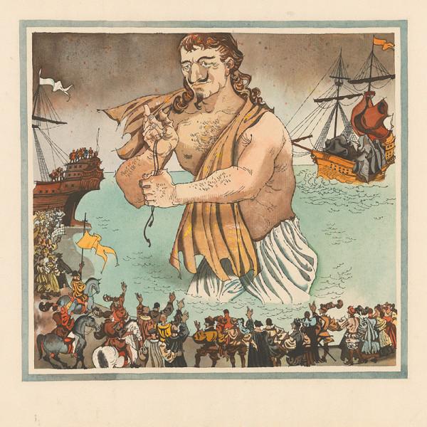 Vincent Hložník – Gulliver sa blíži k pobrežiu zemi trpaslíkov