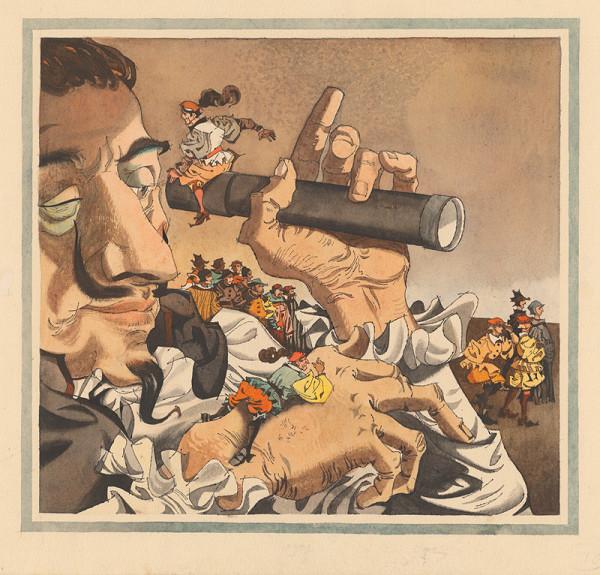 Vincent Hložník – Gulliver odpočíva na ruke obra držiaceho ďalekohlad