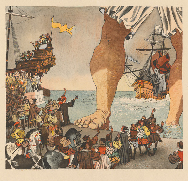 Vincent Hložník – Gulliver vystupuje z mora na pobrežie trpaslíkov