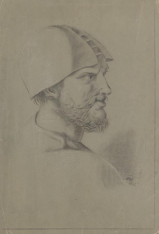 Ján Pálka - Portrétna štúdia muža v helmovitej čiapke