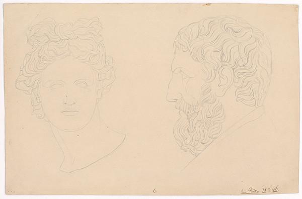 Ján Pálka – Dve hlavy-hlava muža s bradou a ženy-podľa antických odliatkov