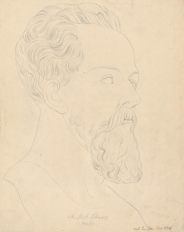 Ján Pálka - Trojštvrťový profil muža s bradou