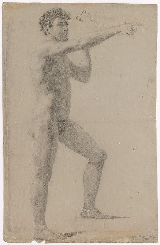 Ján Pálka - Stojaci mužský akt so zdvihnutou pravou rukou