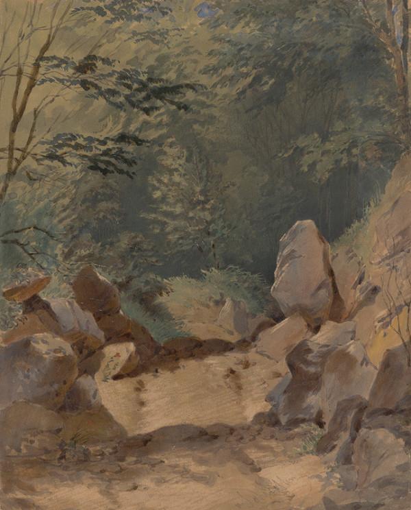 Friedrich Carl von Scheidlin - Lesné zákutie so skalami