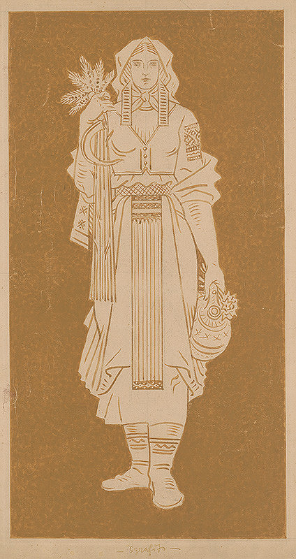 Martin Benka – Žena v slovenskom kroji v ruke s kyticou klasov a kosákom