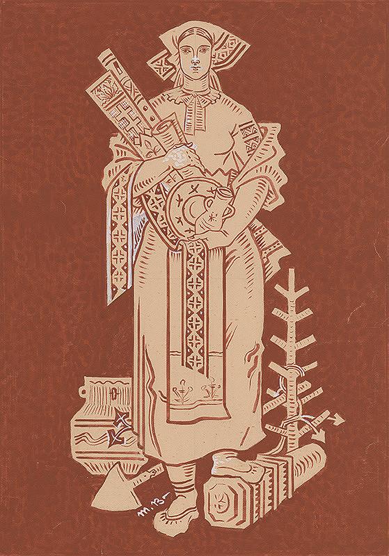 Martin Benka – Žena v slovenskom ľudovom kroji so symbolmi ľudového umeleckého remesla