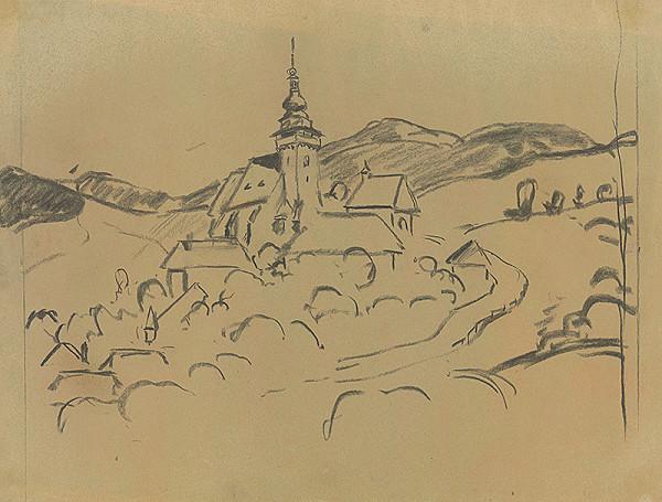 Edmund Gwerk - Horská krajina s kostolíkom