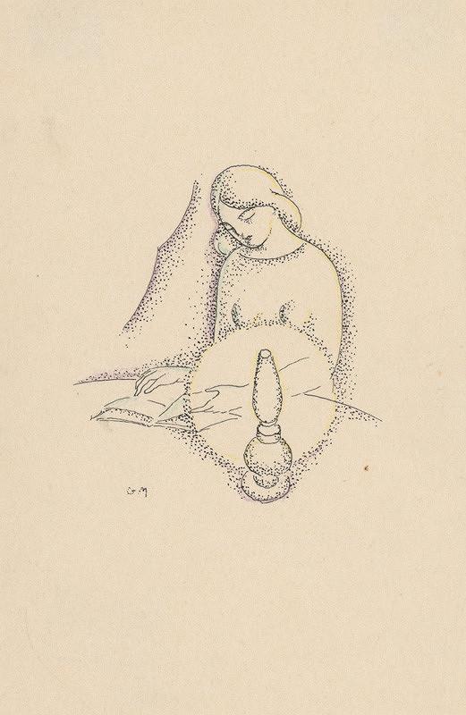 Mikuláš Galanda – Žena čítajúca knihu pri petrolejovej lampe