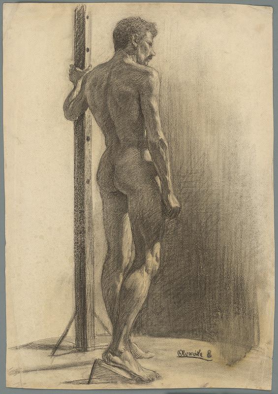 Emil Alexay-Olexák - Štúdia muža držiaceho stĺp