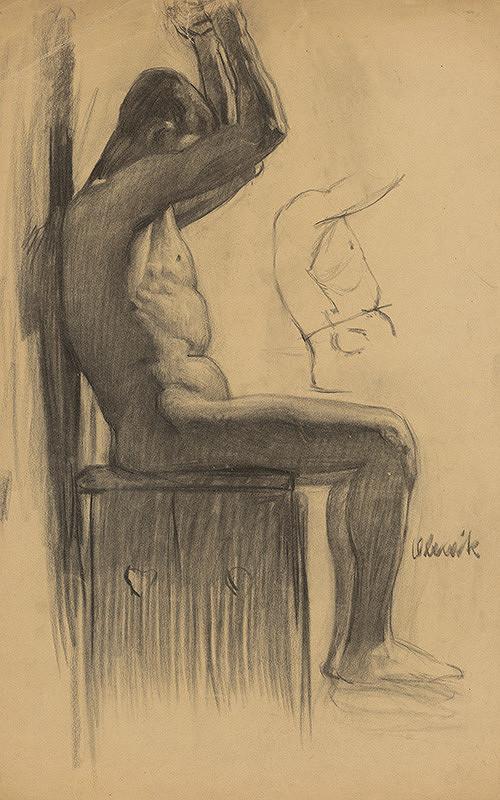 Emil Alexay-Olexák – Štúdia muža sediaceho na stoličke