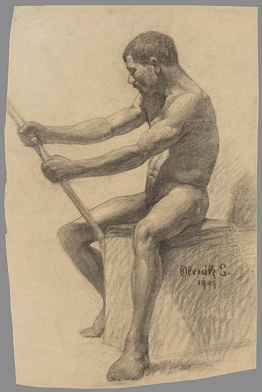 Emil Alexay-Olexák – Štúdia sediaceho muža s palicou