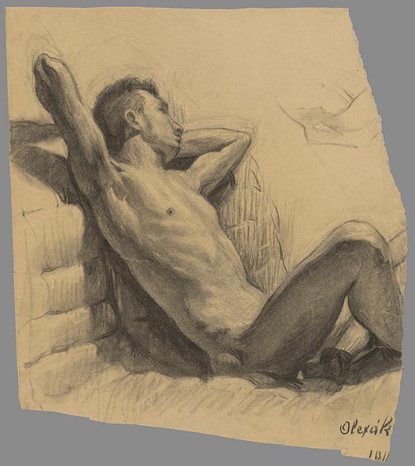 Emil Alexay-Olexák – Štúdia sediaceho muža opretého o múr