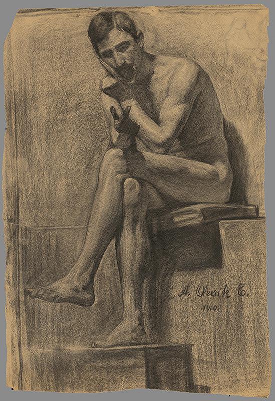 Emil Alexay-Olexák – Štúdia sediaceho muža s preloženou nohou